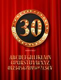 Golden alphabet with show lamps isolated. On on a background of red curtain. Example of a digit in a gold round frame. Anniversary 30. Vector liiustration Royalty Free Stock Images