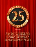 Golden alphabet with show lamps isolated. On on a background of red curtain. Example of a digit in a gold round frame. Anniversary 25. Vector liiustration Royalty Free Stock Photos
