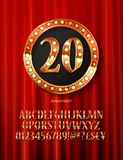 Golden alphabet with show lamps isolated. On on a background of red curtain. Example of a digit in a gold round frame. Anniversary 20. Vector liiustration Stock Photography