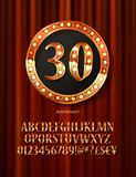 Golden alphabet with show lamps isolated. On on a background of red curtain. Example of a digit in a gold round frame. Anniversary 30. Vector liiustration Stock Photos