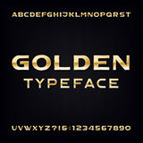 Golden Alphabet Vector Font. Modern metallic bold letters and numbers Stock Images