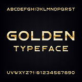 Golden Alphabet Vector Font. Modern metallic letters and numbers. Stock Photo