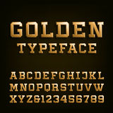 Golden Alphabet Vector Font. Type letters, numbers and symbols. 3D effect letters on the dark background. Vector typeset for headlines, posters etc Stock Photo