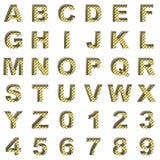 Golden alphabet on white background Stock Images