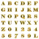 Golden alphabet on white background Royalty Free Stock Photography