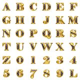 Golden alphabet on white background Royalty Free Stock Images