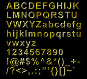 Golden Alphabetical Letters, numbers and symbols Stock Photos