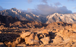 Golden Alpine Sunrise Alabama Hills Sierra Nevada Range California royalty free stock image