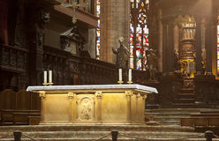 Golden altar in Milan Dome Stock Images