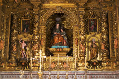 Golden altar of Santa Maria Royalty Free Stock Images