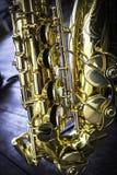 Golden alto saxophone closeup Royalty Free Stock Photo