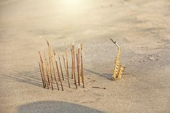 The golden alto saxophone stands on the sand next to the incense. Romantic musical background. Musical cover, creative, relaxation. And meditation. Design with royalty free stock photos