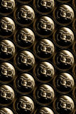 Golden aluminum drink cans pil. Ed Royalty Free Stock Images