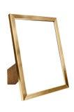 Golden aluminum empty photo frame on white background Stock Photography