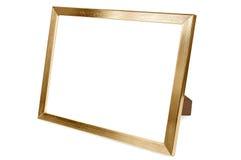 Golden aluminum empty photo frame on white background Royalty Free Stock Photo