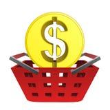 Golden american dollar coin in red basket vector Stock Photos