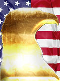 Golden American Eagle. Patriotic composition about Golden American Eagle shaped on American flag Stock Images