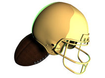 Golden american football Helmet with ball. Digital render of American football helmet with ball on white background Royalty Free Stock Image