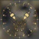 Golden amphora, zodiac Aquarius sign Royalty Free Stock Photography