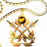 Golden Amulet of Swords Stock Image