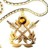 Golden Amulet of Swords Stock Image