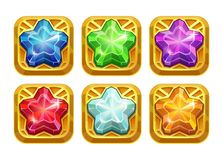 Golden amulets with colorful crystal stars. App icons for web or game design Stock Photos