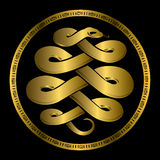 Golden Anaconda snake medallion Stock Image