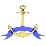Golden anchor with ribbon Royalty Free Stock Photography