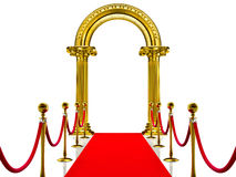 Golden ancient arch with Red Carpet Royalty Free Stock Photography