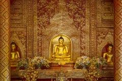 Golden ancient buddha in Wat Pra Singh Temple pavilion  ,Chiangm Stock Photos