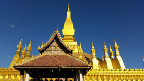 Golden ancient pagoda at vientiane Royalty Free Stock Images