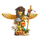 Golden ancient totem of man with bird wings Royalty Free Stock Photography