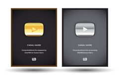 Free Golden And Silver Play Youtube Award Buttons Set In Frames. Gold Button Video Player. Silver Button Video Player. Royalty Free Stock Photo - 173707595