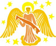 Golden angel. Illustration of golden angel surrounded by stars isolated on white background royalty free illustration