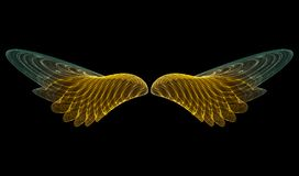 Golden angel (abstract). 3D rendering of golden angel wings stock illustration