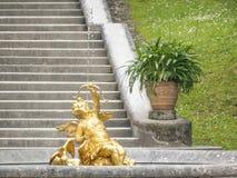 Golden Angel Fountain Stock Image
