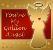 Golden angel heart thanks Stock Photos