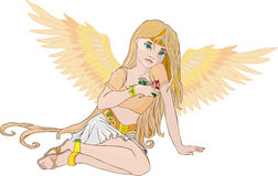 Golden Angel with a rose Stock Photos