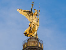 Golden angel of the Siegessaeule Victory Column Royalty Free Stock Images