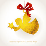 Golden angel with star and ribbons. Stock Image