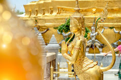 Golden angel statue of Temple of the Emerald Buddha Wat pra kae Stock Images