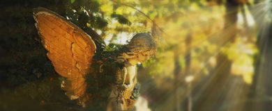 Golden angel in the sunlight (antique statue) Royalty Free Stock Image