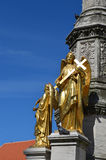 Golden angels    in front of Cathedral in Zagreb, Croatia. Royalty Free Stock Images