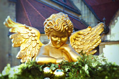 Golden angle. On christmas market in Stuttgart, Germany Stock Photography