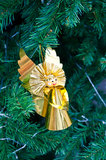 Golden angle on christmas tree Royalty Free Stock Photography