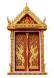 Golden angle sculpture on Thai temple window over white background Stock Photo