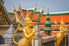 Golden Angle at Wat Phra Kaeo, Temple of the Emerald Buddha and Stock Photo