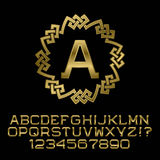 Golden angular letters and numbers with A initial monogram. Beautiful presentable font for logo design. Isolated english alphabet, figures Stock Images