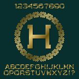 Golden angular letters and numbers with initial monogram in decorative round frame. Beautiful presentable font kit for logo design Royalty Free Stock Photography
