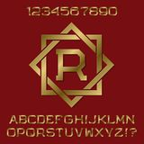 Golden angular letters and numbers with initial monogram in octagonal frame. Beautiful presentable font kit for logo design vector illustration